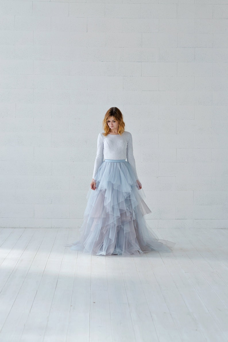 Aella  ruffled bridal skirt in watercolor design / colored image 0
