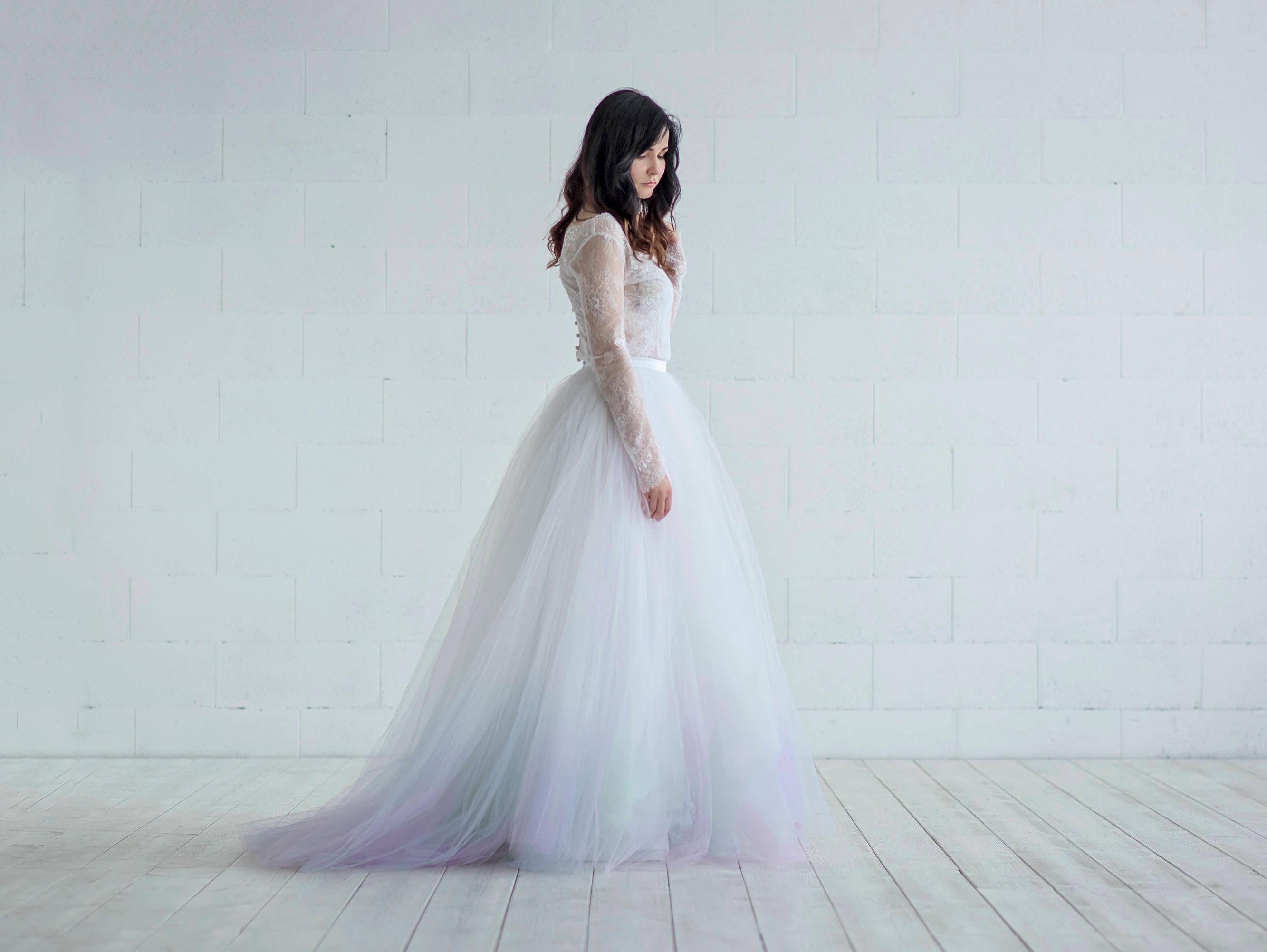a3b29e007 Aurora wedding dress   tulle and lace wedding dress   long