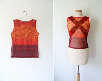 90s Totally Sheer Mesh Psychedelic Indie Flower Print Burnt Orange Maroon Sleeveless See-Through Crew Neck Tank Top By French MORGAN