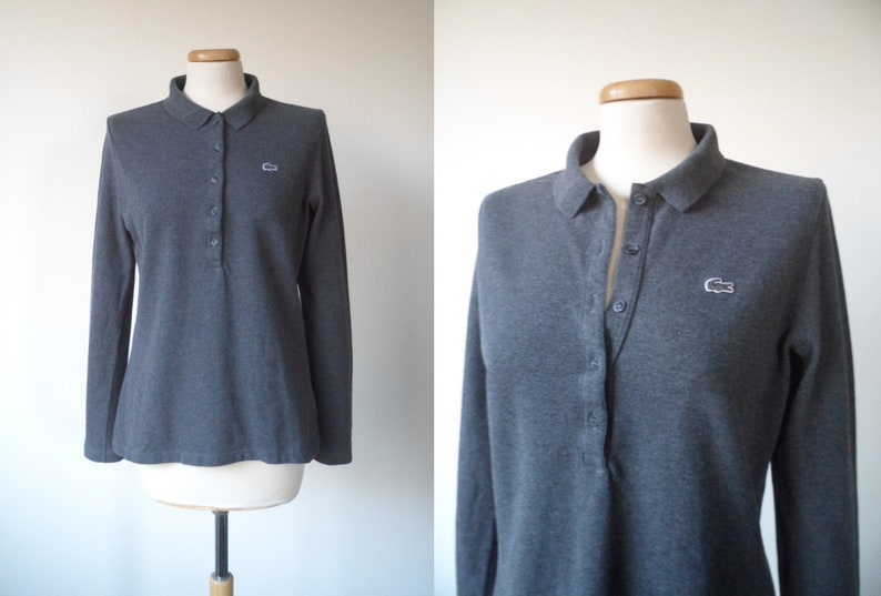 c2909b3c 90s LACOSTE Crocodile Logo Charcoal Gray Classic Button Up Collar Long  Sleeve Sweatshirt Sweater Top Made In France Womens Size 40 Medium M
