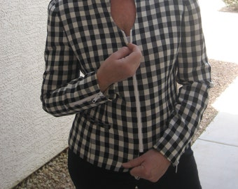Christian Dior Black and White checked zip jacket