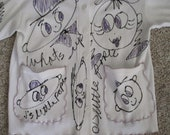 Hobeau Hand Painted What 39 s Up J 39 s Little Popee White Blouse Jacket