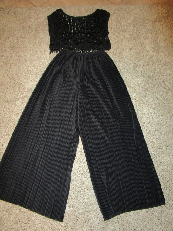 Jeanne Marc 1990's black accordian pleated palozzo