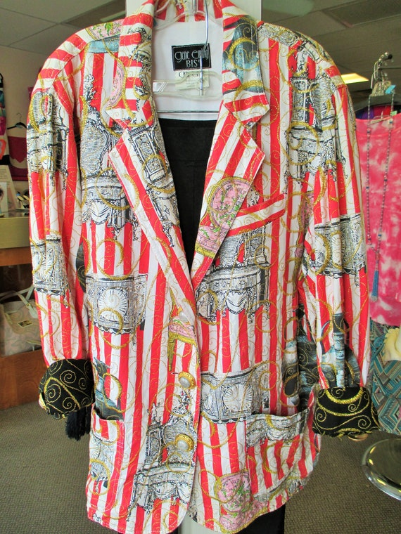 RESERVED for Ana Artsy red and white blazer jacket
