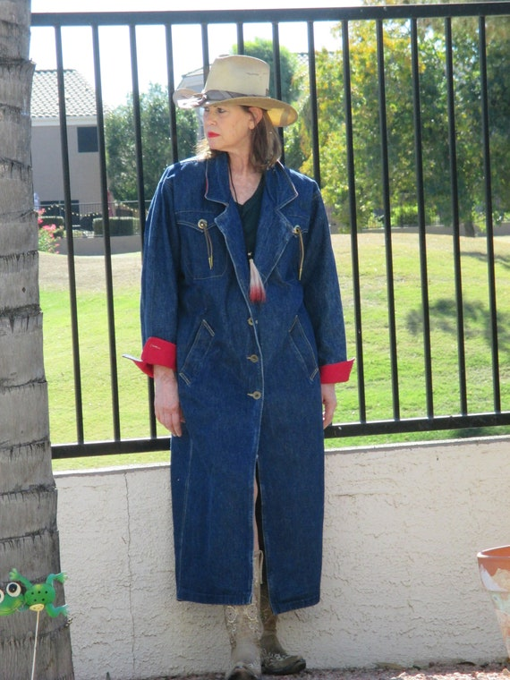Andy John USA 90's long dark denim duster coat