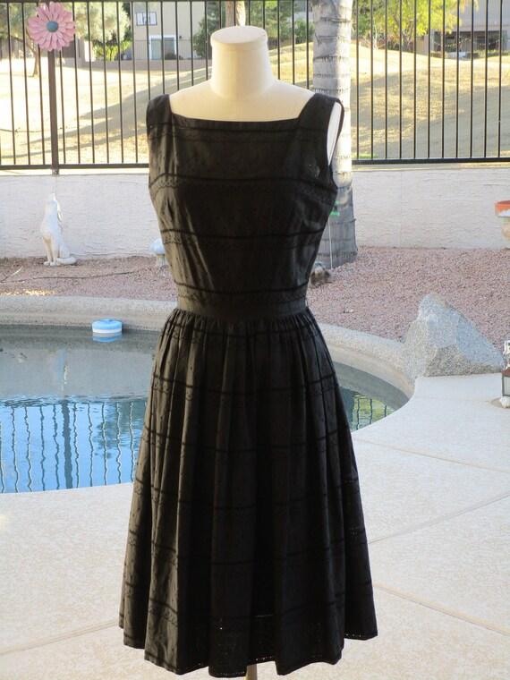 1950's Jerry Gilden Spectator black eyelet dress