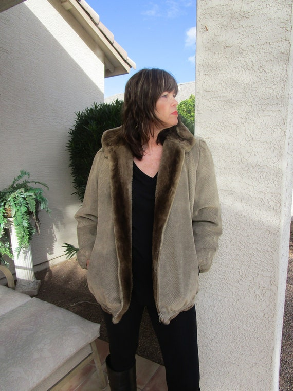 "Vintage ""reversible"" faux fur zip jacket"