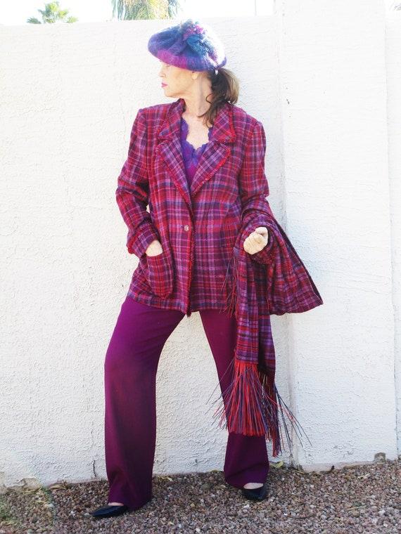 Rare find Vintage 4pc Hot Pink Purple Plaid pant s