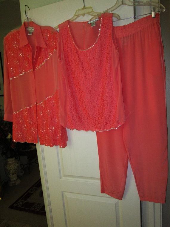 3pc Vintage coral silk sequins pants set