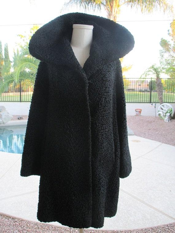 Vintage black faux curly lamb miracurl luxury fabr