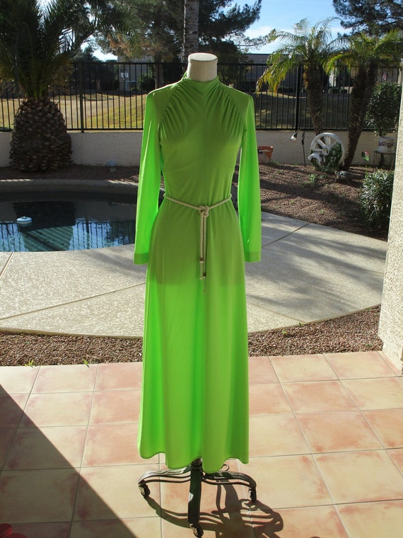 Vintage Highlighter Reel Neon green sheer maxi dre