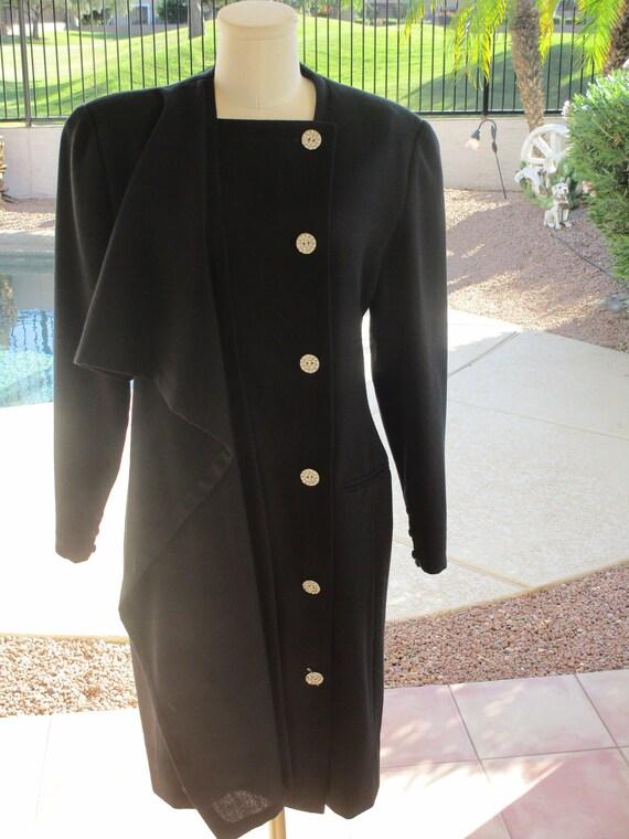 Vintage Bill Blass black dress blingy buttons