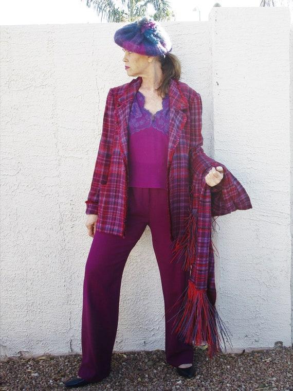 Rare find Vintage 4pc Hot Pink Purple Plaid pant … - image 4