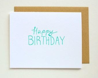 Happy Birthday - Letterpress - Greeting Card - Crane Lettra - A2