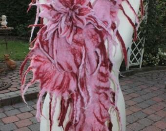 Felt scarf, stole, scarf pink