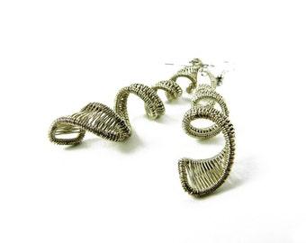 Isolt woven earrings in sterling silver