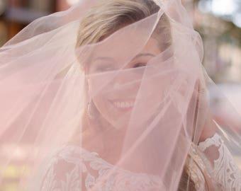 Ombré Wedding Veil, Two Layer Ombré Blush Veil, Custon Ombré Bridal Veil, Ombré Blue Veil, Ombre Blusher Veil, Ombré Blush Veil- ELIZABETH