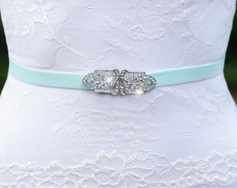 Silver Crystal Sash, Thin Wedding Sash, Thin Belt, Rhinestone Wedding Belt, Velvet Sash, No Tie Sash, Bridesmaid Sash, Elastic Sash- HAYDEN