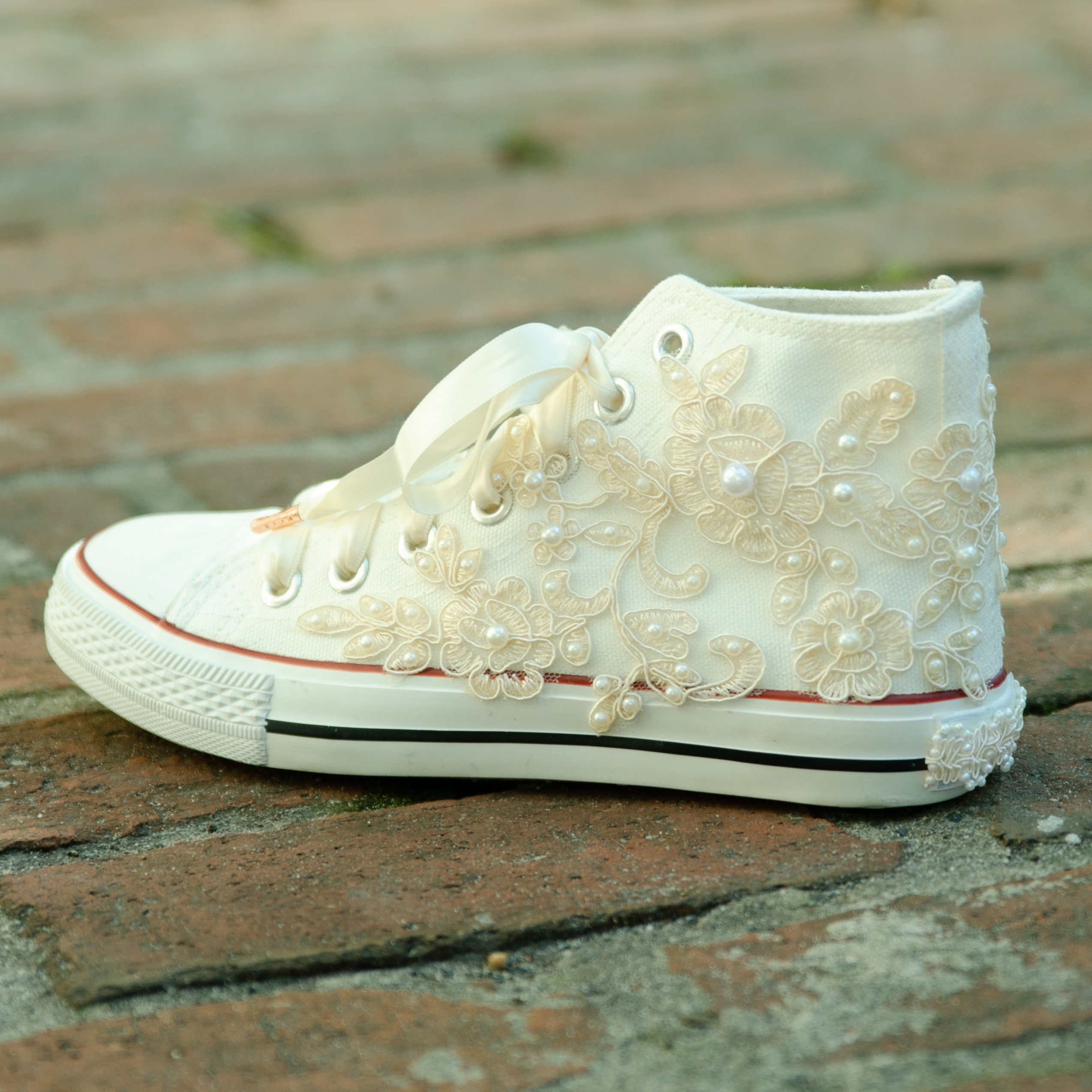 Ivory Lace Wedding Shoes Lace Wedding Hi-Top Sneakers Bridal  d41b0a7373ea