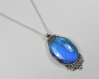 Blue Morpho Butterfly Wing Pendant Statement Necklace Antique Silver Roses