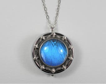 Blue Morpho Butterfly Wing Music Box Locket Pendant Necklace Silver