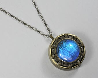 Rhetenor Blue Morpho Butterfly Wing Music Box Locket Pendant Necklace Antique Gold