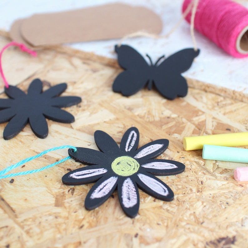 DIY Chalkboard hanging decoration - Flower - Perfect for kids, stocking  filler, table present, sustainable, reusable