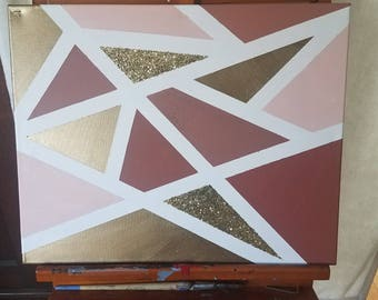 Rose, Gold, and Gold Glitter Geometric  Painting