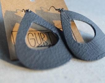 Leather Drop Earrings - open teardrop