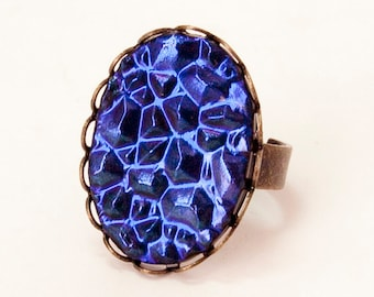 Purple Ring, Dichroic Glass, Antiqued Brass Band, Adjustable Band, Druzy Look