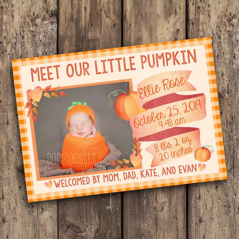 pumpkin baby announcement meet our little pumpkin custom baby announcement fall birth announcement