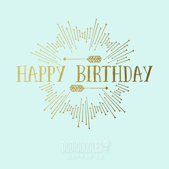 Gold Overlays Happy Birthday Clipart Clip Art Typography Etsy