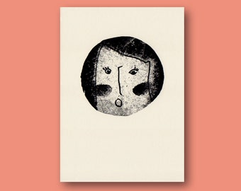 Risograph Poster, Print, Riso, pink, red, Plakat, Din A4, face, stamp, PORTRAIT, Screenprint