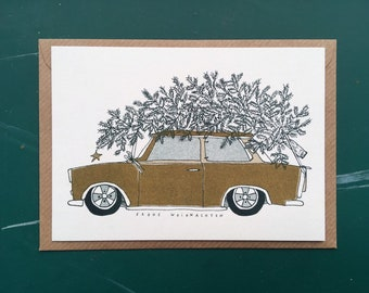 Christmas card, christmas card, Christmas, Christmas, cast card, greeting card, Christmas tree, risograph, postcard, advent, screen print,