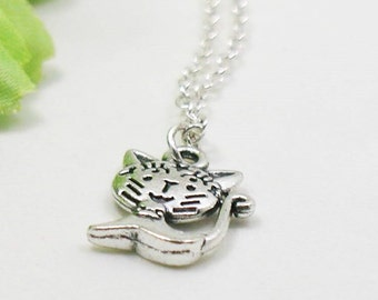 Cat Necklace - Charm Necklace - Cat Pendant - Silver Cat - Cat Charm - Dainty Cat Necklace - Tiny Cat Jewelry - Silver Kitten Necklace