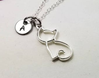 Silver cat jewelry etsy cat necklace charm necklace cat pendant silver cat cat charm dainty cat necklace tiny cat jewelry silver kitten necklace aloadofball Images