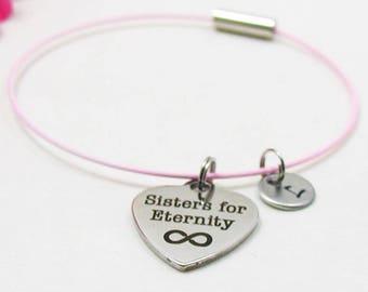Sisters For Eternity Bracelet - Best Friends Bangle - Initial Charm - Charm Bracelet - Initial Bracelet - Personalize Gift - Custom Bracelet
