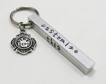 Fireman Key Chain - Aluminum Bar Keychain - Personalized Keychain - Custom Keychain - Aluminum Keychain - Fire Fighter Keychain