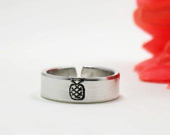 Pineapple Ring - Personalized Name Ring - Personalized Ring - Handstamped Ring - Pineapple Jewelry - Adjustable Ring - Custom Pineapple Ring