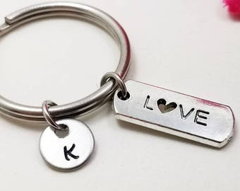Love Keychain - Love Key Chain - Initial Keychain - Personalized Keychain - Initial Key Ring - Silver Love Key Ring - Customized