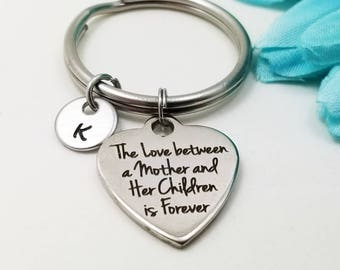 Mom Keychain - Mom Key Chain - Mother Daughter Keychain - Personalized Keychain - Initial Key Ring  Silver Mom Keyring - Customized Keychain