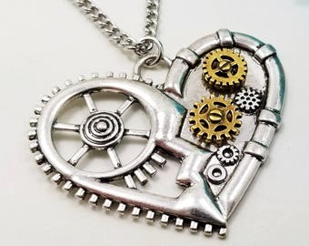 Steampunk Necklace  - Copper Necklace - Heart Necklace - Cogs and Gears Necklace  - Heart Jewelry - Steampunk Jewelry - Mechanical Heart