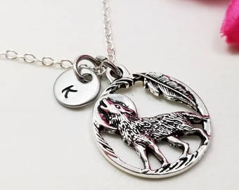Wolf pendant etsy wolf jewelry wolf pendant wolf necklace tiny necklace howling worlf necklace friend gift animal lover gift mom gift gf gift aloadofball Choice Image
