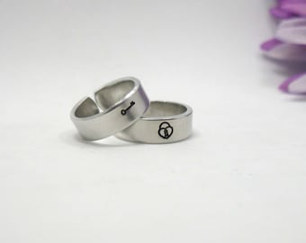 Lock and Key Rings - Two Personalized Rings - Key and Lock Rings - Handstamped Rings - Adjustable Ring - Silver Ring -  Personalized Ring