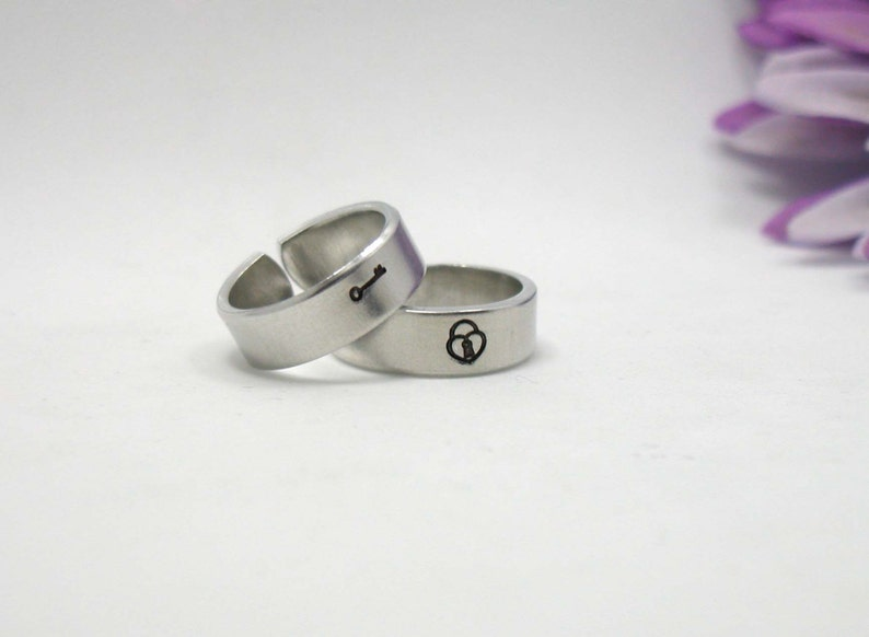 Two Personalized Rings Silver Ring Personalized Ring Lock and Key Rings Handstamped Rings Adjustable Ring Key and Lock Rings