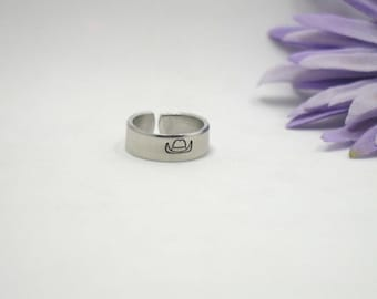 Cowboy Hat Ring - Custom Personalized Ring - Custom Ring - Handstamped Ring - Girlfriend Gift - Aluminum Ring - Adjustable Ring