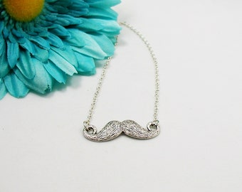 Mustache Necklace - Moustache Charm Necklace - Movember Charm - Geeky Gift Necklace - Hipster Necklace - Silver Mustache - Mustache Jewelry