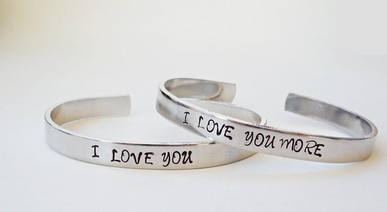 46b7e0d7cad I Love You More Bracelet Cuff Personalized Bracelet Love   Etsy