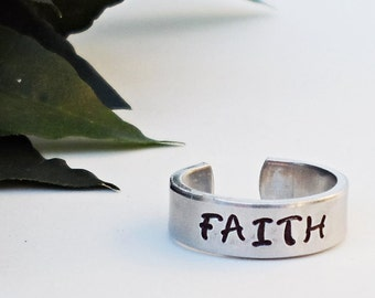 Faith Ring - Personalized Ring - Inspirational Ring - Handstamped Ring - Aluminum Ring - Adjustable Ring - Silver Ring