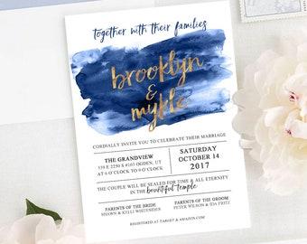 Brushed Watercolor Wedding Invitation